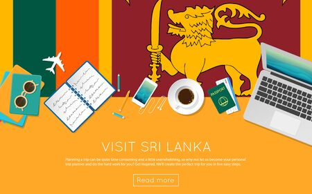 vacation with laptop: Visit Sri Lanka concept for your web banner or print materials. Top view of a laptop, sunglasses and coffee cup on Sri Lanka national flag. Flat style travel planninng website header.