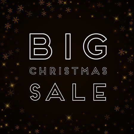 Big Christmas Sale greeting card. Sparse starry snow background.