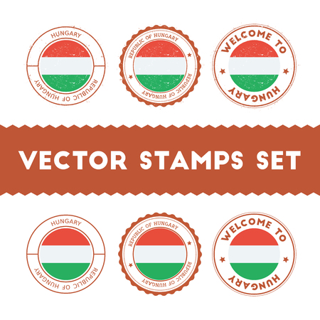Hungarian flag rubber stamps set. National flags grunge stamps. Country round badges collection.