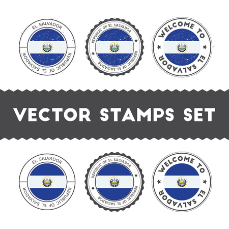 Salvadoran flag rubber stamps set. National flags grunge stamps. Country round badges collection.