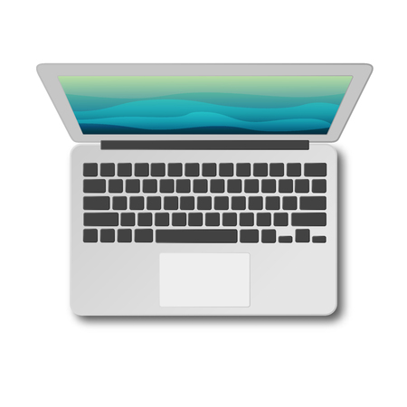 Laptop top view with shadow isolated on white background vector illustration. Modern laptop as seen from above. Material flat design.