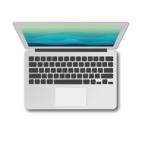 Vue de dessus d'ordinateur portable avec ombre isolé sur illustration vectorielle fond blanc. Ordinateur portable moderne vu d'en haut. Design plat matériel. Banque d'images - 87979369