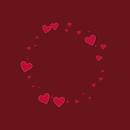 Red stitched paper hearts. Small round shape on wine red background. Vector illustration. Illustration