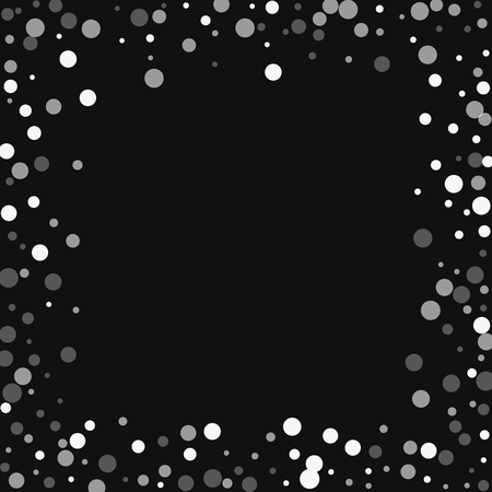 Falling white dots. Chaotic border with falling white dots on black background. Vector illustration. Illustration