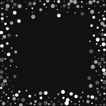 Witte stippen vallen. Chaotische grens met vallende witte stippen op zwarte achtergrond. Vector illustratie. Stock Illustratie