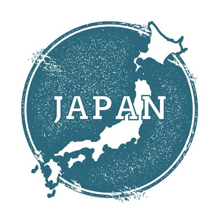 postmark: Grunge rubber stamp with name and map of Japan, vector illustration. Can be used as insignia, logotype, label, sticker or badge of the country.