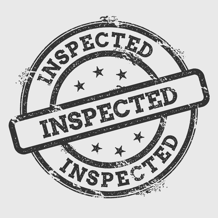 Inspected rubber stamp isolated on white background. Grunge round seal with text, ink texture and splatter and blots, vector illustration.