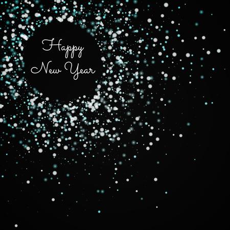 행복 한 새 해 인사말 카드입니다. 놀라운 떨어지는 눈 배경. 검정 배경에 놀라운 떨어지는 눈. 아름 다운 벡터 일러스트 레이 션.