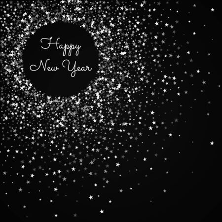 Happy New Year greeting card. Amazing falling stars background. Amazing falling stars on black background. Beautiful vector illustration.