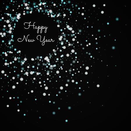 행복 한 새 해 인사말 카드입니다. 아름 다운 떨어지는 눈 배경. 검은 배경에 아름 다운 떨어지는 눈. 아름 다운 벡터 일러스트 레이 션.