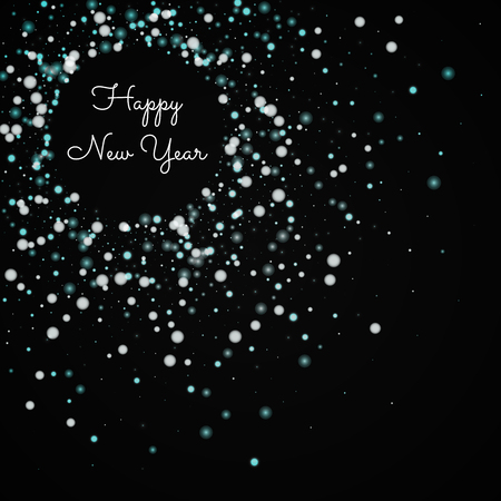 Happy New Year greeting card. Beautiful falling snow background. Beautiful falling snow on black background. Beautiful vector illustration.