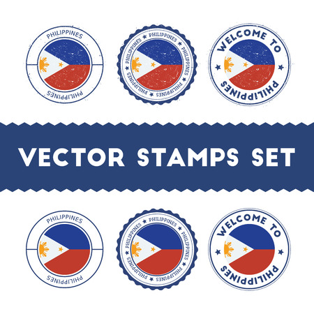 Philippines flag rubber stamps set; National flags grunge stamps; Country round badges collection.