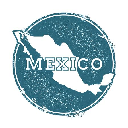 Grunge rubber stamp with name and map of Mexico