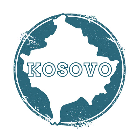 Grunge rubber stamp with name and map of Kosovo Illustration
