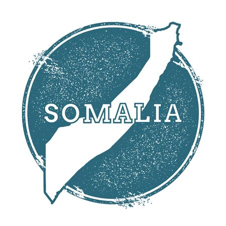 Grunge rubber stamp with name and map of Somalia