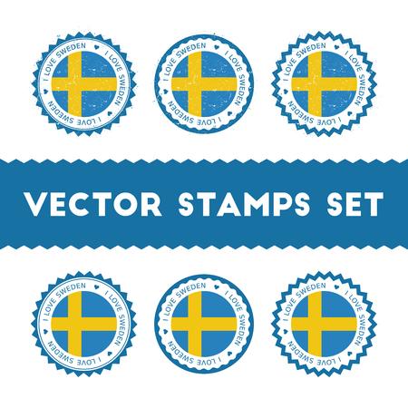 I Love Sweden vector stamps set.