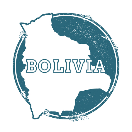 Grunge rubber stamp with name and map of Bolivia, vector illustration. Can be used as insignia, logotype, label, sticker or badge of the country. Illustration