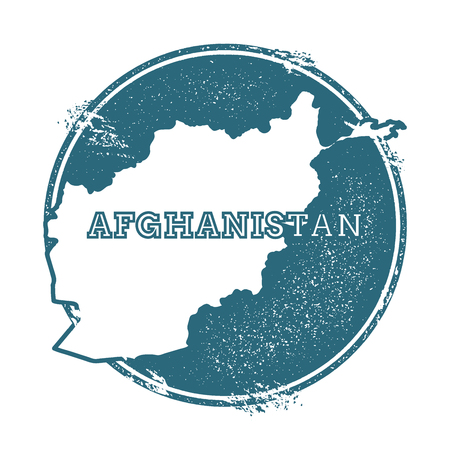 Grunge rubber stamp with name and map of Afghanistan, vector illustration. Can be used as insignia, logotype, label, sticker or badge of the country.