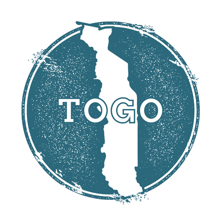 Grunge rubber stamp with name and map of Togo, vector illustration. Can be used as insignia, label, sticker or badge of the country.