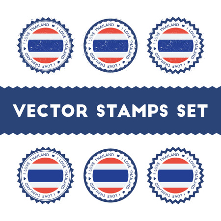 I Love Thailand vector stamps set. Retro patriotic country flag badges. National flags vintage round signs. Çizim