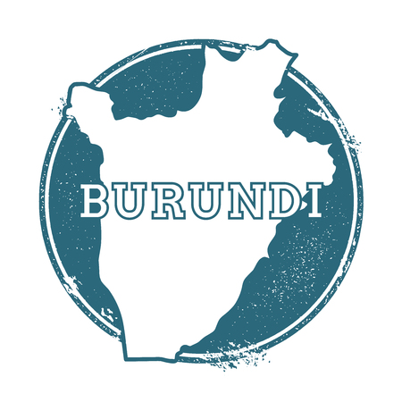 Grunge rubber stamp with name and map of Burundi, vector illustration. Can be used as insignia, logotype, label, sticker or badge of the country.