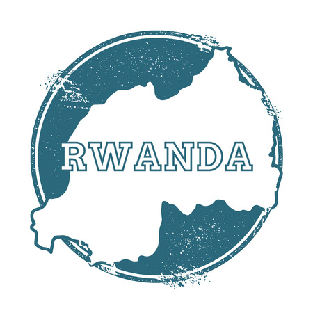 Grunge rubber stamp with name and map of Rwanda, vector illustration. Can be used as insignia, logotype, label, sticker or badge of the country.