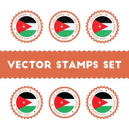 I Love Jordan vector stamps set. Retro patriotic country flag badges. National flags vintage round signs.