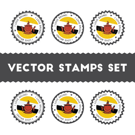 I Love Brunei Darussalam vector stamps set. Retro patriotic country flag badges. National flags vintage round signs.