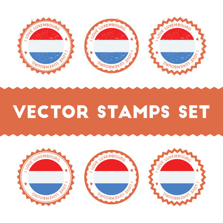 I Love Luxembourg vector stamps set. Retro patriotic country flag badges. National flags vintage round signs. Illustration