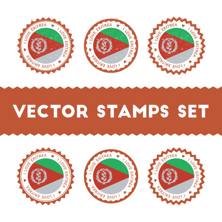 I Love Eritrea vector stamps set. Retro patriotic country flag badges. National flags vintage round signs.