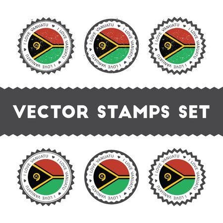 I Love Vanuatu vector stamps set. Retro patriotic country flag badges. National flags vintage round signs. Illustration