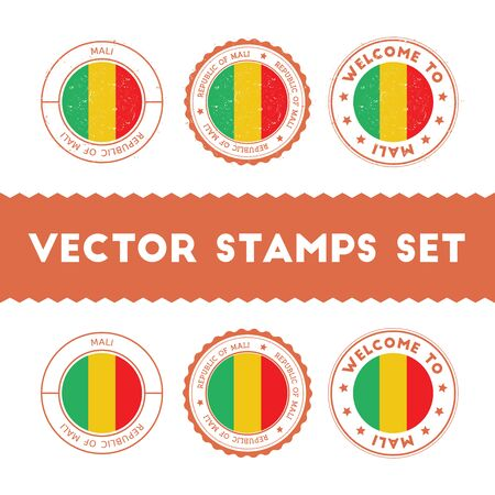 Malian flag rubber stamps set. National flags grunge stamps. Country round badges collection.