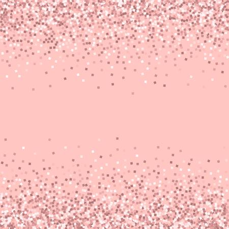 Brillo de oro rosa. Frontera dispersa con brillo de oro rosa sobre fondo rosa. Increíble ilustración vectorial.