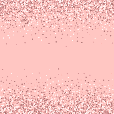 Pink gold glitter. Scattered border with pink gold glitter on pink background. Amazing Vector illustration.
