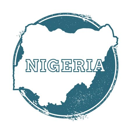 Grunge rubber stamp with name and map of Nigeria, vector illustration. Can be used as insignia, logotype, label, sticker or badge of the country.