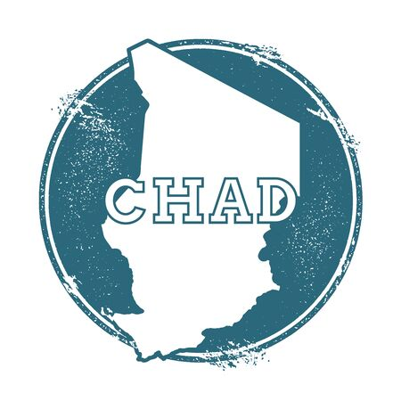 Grunge rubber stamp with name and map of Chad, vector illustration. Can be used as insignia, logotype, label, sticker or badge of the country.
