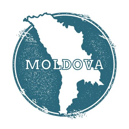 Grunge rubber stamp with name and map of Moldova, Republic of, vector illustration. Can be used as insignia, logotype, label, sticker or badge of the country.