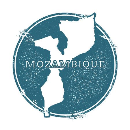 Grunge rubber stamp with name and map of Mozambique, vector illustration. Can be used as insignia, logotype, label, sticker or badge of the country. Illustration