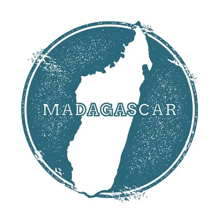 Grunge rubber stamp with name and map of Madagascar, vector illustration. Can be used as insignia, logotype, label, sticker or badge of the country. Illustration