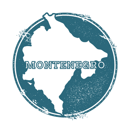 Grunge rubber stamp with name and map of Montenegro, vector illustration. Can be used as insignia, logotype, label, sticker or badge of the country.