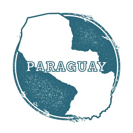 para: Grunge rubber stamp with name and map of Paraguay, vector illustration. Can be used as insignia, logotype, label, sticker or badge of the country.