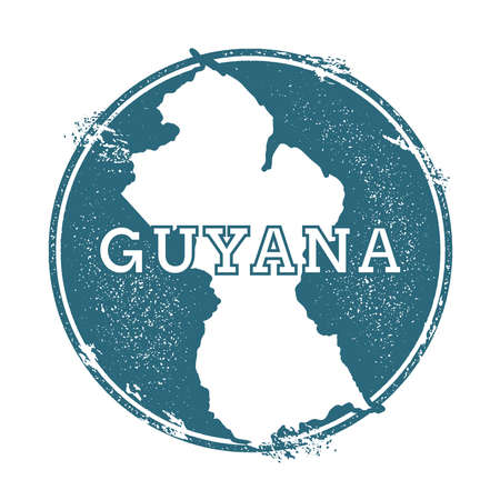 Grunge rubber stamp with name and map of Guyana, vector illustration.