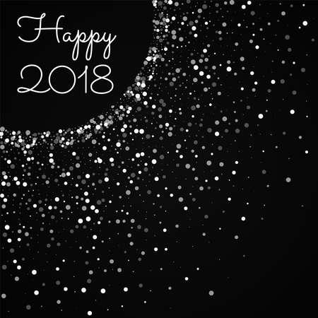 Happy 2018 greeting card. Random falling white dots background. Random falling white dots on red background. Charming vector illustration.