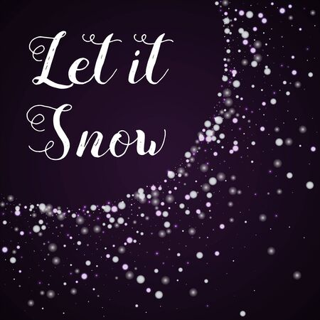 Let it snow greeting card. Beautiful falling snow on deep purple background. Illustration