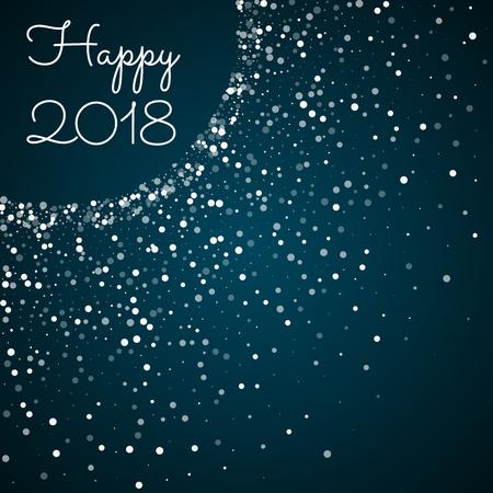 Happy 2018 greeting card. Random falling white dots background. Random falling white dots on blue background. Charming vector illustration. Ilustração Vetorial