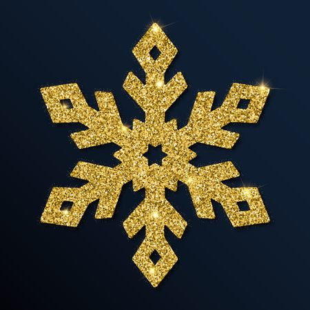 Golden glitter marvelous snowflake. Luxurious christmas design element, vector illustration.