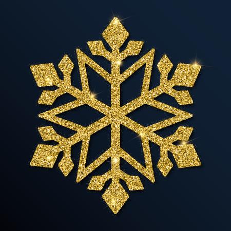 Golden glitter resplendent snowflake. Luxurious christmas design element, vector illustration.