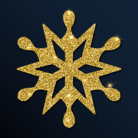 Golden glitter sublime snowflake. Luxurious christmas design element, vector illustration. Illustration