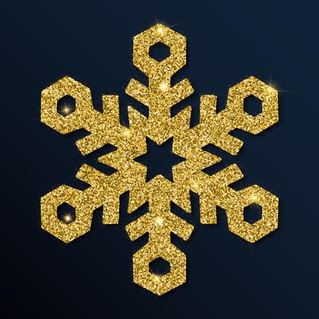 Golden glitter pleasing snowflake. Luxurious christmas design element, vector illustration.