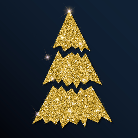 Golden glitter lovely Christmas tree. Luxurious Christmas design element, vector illustration.
